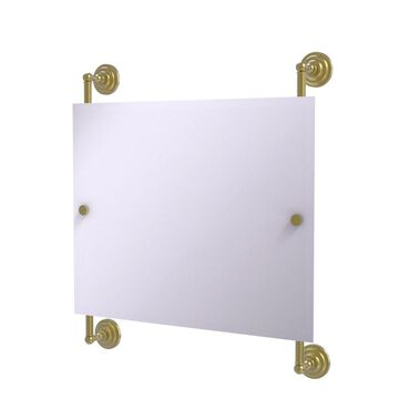 PQN-27-93-SBR Prestige Que New Landscape Rectangular Frameless Rail Mounted Mirror, Satin Brass
