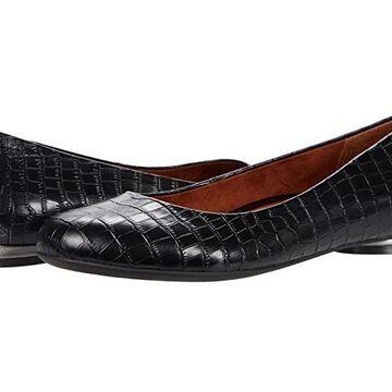 VIONIC Hannah (Black Croc) Women's Flat Shoes