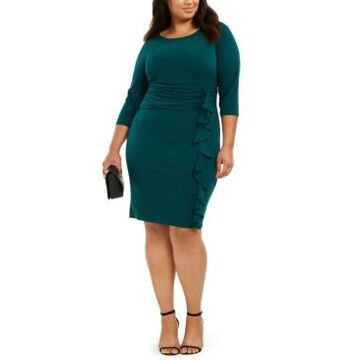 Jessica Howard Plus Size Ruched-Waist Side-Ruffled Dress