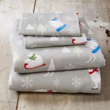 Home Fashion Designs Super Soft Printed Turkish Cotton Flannel Bed Sheet Set (Polar Bears - Queen)