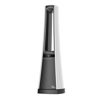 Lasko 1500W Bladeless Tower Space Heater with Remote, AW300, White/Grey