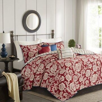 Home Essence Rose 6 Piece Cotton Twill Reversible Coverlet Set