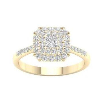 3/4ct TDW Princess Cut Diamond Halo Ring in 10k Gold by De Couer