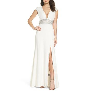 XSCAPE Long Ity Dress, Ivory, 14P