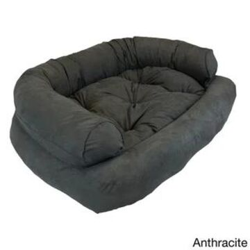 Snoozer Overstuffed Solid Luxury Microsede Pet Sofa (Anthracite - 36