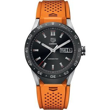 Tag Heuer Men's SAR8A80.FT6061 Connected Smartwatch Android 4.3+ IOS 8.2+ Microphone Orange Rubber Watch