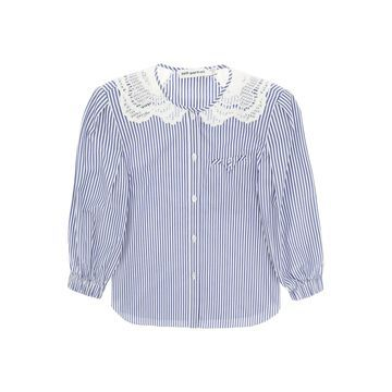 self-portrait Embroidered Striped Shirt