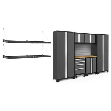 NewAge Products Bold Series 3.0 Grey 9 Piece Cabinet Set with Wall Mounted Shelf