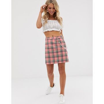 Daisy Street mini skirt with clear chain in check
