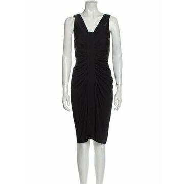 Square Neckline Knee-Length Dress Black