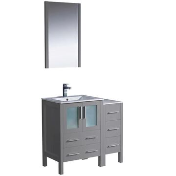 Fresca Bari 36-in Gray Single Sink Bathroom Vanity with White Ceramic Top (Mirror and Faucet Included) | FVN62-2412GR-UNS