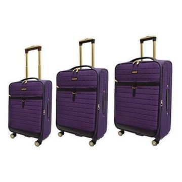 Adrienne Vittadini Square Quilted 3-Piece Softside Spinner Luggage Set in Purple