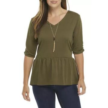 Agb Women's Ruched Sleeve Peplum Knit Top With Necklace -