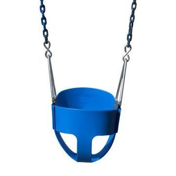 Gorilla Playsets Full Bucket Toddler Swing - Blue with Blue Chains