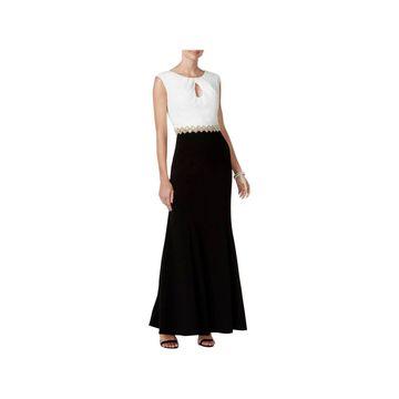 Alex Evenings Womens Evening Dress Colorblock Embellished