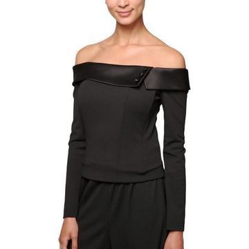 Alex Evenings Womens Crepe Off-The-Shoulder Pullover Top