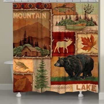 Laural Home Lodge Collage Shower Curtain in Brown
