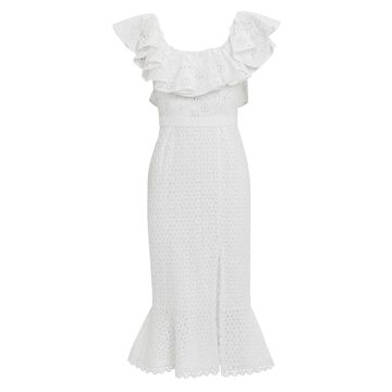 Ella Eyelet Ruffled Dress