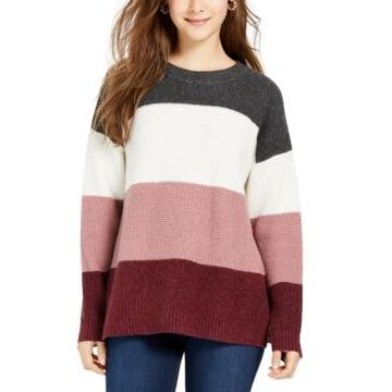 Hippie Rose Juniors' Colorblocked Thermal-Knit Sweater