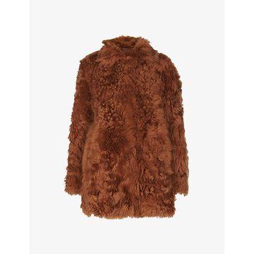 Whistles Womens TAN Eliza Shearling Coat M/L