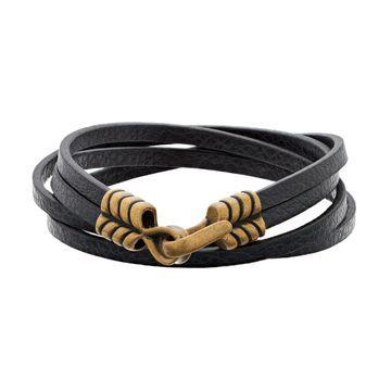 LYNX Men's Black Leather Wrap Bracelet