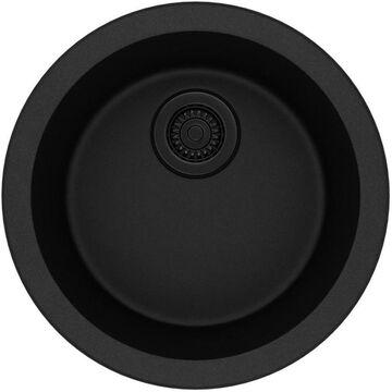 Elkay Quartz Classic Dual-mount 18.125-in x 18.125-in Black Single Bowl Kitchen Sink