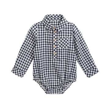 Baby Boys Cotton Check Long-Sleeve Bodysuit, Created For Macy's