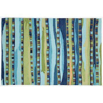 Liora Manne Ravella Fiesta Striped Indoor Outdoor Rug, Blue, 3.5X5.5 Ft
