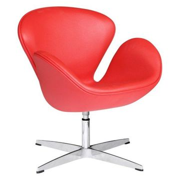 Fine Mod Imports Leather Swan Chair, Red