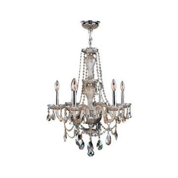 Worldwide Lighting Provence 6-Light Chrome Finish and Crystal Chandelier
