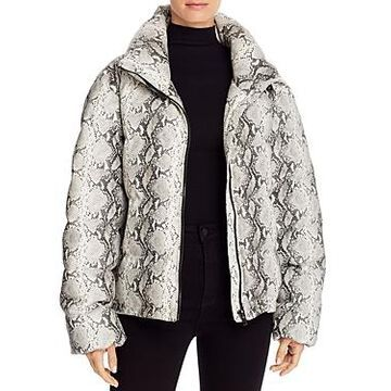 Glamorous Snake Print Faux Leather Puffer Jacket