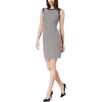 Kasper Womens Jacquard Polka Dot Mini Dress