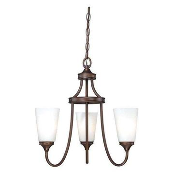 Vaxcel Lighting Lorimer 3 Light Single Tier Chandelier w/ Frosted Glass Shades