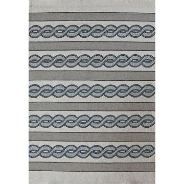 Libby Langdon Ivory/Spa Cable Knit Indoor/Outdoor Area Rug