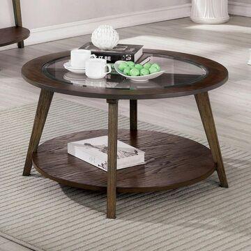 Furniture of America Hula Oak 32-inch Solid Wood 1-shelf Coffee Table