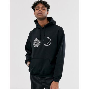 Reclaimed Vintage hoodie with sun and moon in black