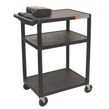 Luxor 3-Shelf A/V Cart with Electric, Black