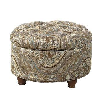 Benzara Modern Round Storage Ottoman | BM194136