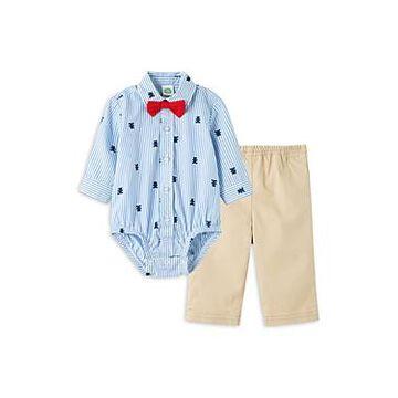 Little Me Boys' Cotton Bear Bow Tie Bodysuit & Pants Set - Baby