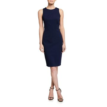 Textured Sleeveless Asymmetric Seamed Sheath Dress