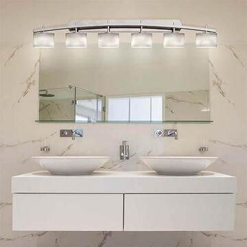 Clouds Brushed Nickel Six-Light Bath Bar