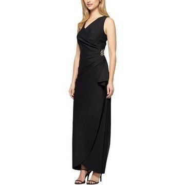 Alex Evenings Womens Embellished Draped Evening Dress