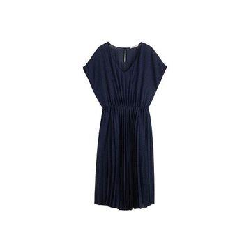Violeta BY MANGO - Plumeti pleated dress dark navy - 16 - Plus sizes