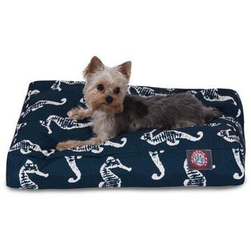 Majestic Pet Sea Horse Rectangle Dog Bed Treated Polyester Removable Cover Navy Small 27