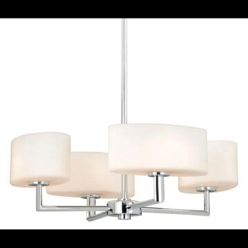 Vaxcel Lighting H0002 Allerton 4 Light 18 Inch Wide Single Tier Chandelier with Frosted Glass Shades Chrome Indoor Lighting Chandeliers