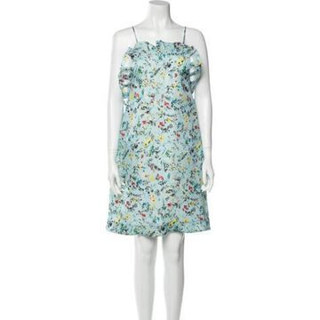 Msgm Silk Knee-Length Dress w/ Tags Blue Msgm Silk Knee-Length Dress w/ Tags