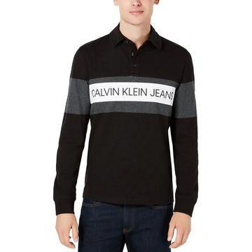 Calvin Klein Jeans Mens Henley Shirt Logo Long Sleeves - S