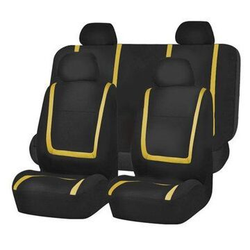 FH GROUP Unique Flat Cloth Full Set Seat Covers with bonus Air Freshener