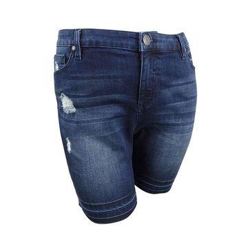 Celebrity Pink Women's Plus Size Distressed Bermuda Shorts - Chiara