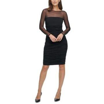 Eliza J Illusion-Mesh Bodycon Dress